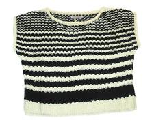 Komodo Lucas Knitted Wool Crop Sweater in Striped Print Black/White Size 2/UK 10