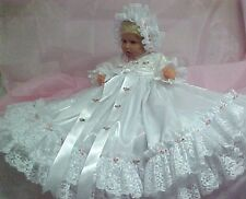 GOWN WHITE SATIN PINK ROSES VICTORIAN BAPTISM PAGEANT  FOR REBORN OR BABY