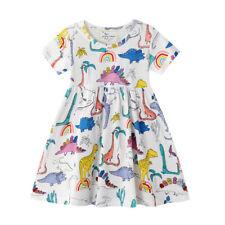 NWT Dinosaur Rainbow Girls White Short Sleeve Dress