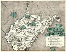 1930s Antique Animated WEST VIRGINIA State Map RARE Picture Cartoon Map BLU 7296