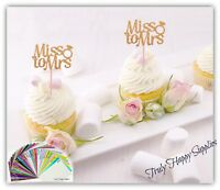 Miss to Mrs Bridal Shower Cupcake toppers, 29 Glitter colours Engagement Hen