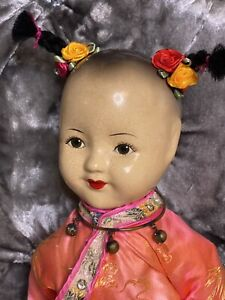 Antique Extremely Rare Asian Doll  Composition And Soft Body Stunning Detailed