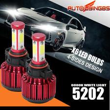 4-Sides 5202 LED Headlight Bulbs Fog Light Beam 32000LM 120W Lamps 6000K White