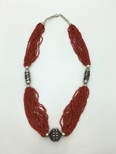 Vintage Tibetan Necklace Chinese Multi-Strand Coral Bead Beads Silver Metal