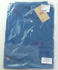 LEVIS Men's Polo Shirt Small Blue T Shirt Speckled Double Dyed Pocket Jersey New