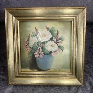 "Bess Whitridge, Floral Still Life 6""x6"" Painted Porcelain Tile"
