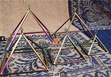 """crystal singing bowls & colorful crystal singing pyramid 3"""" 4"""" 5"""" 6"""" 7"""" 5pcs set"""