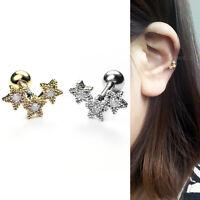 Cartilage Helix Tragus Ear Piercing Star Stud CZ Barbell Stud Body Earring 16G