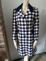 Vintage MANDY blue check wool coat 30s 40s 50s 60s Rockabilly Mod S M 8 10 12 vg
