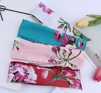 Women Satin Retro Silky look flower Wire bow scarf Hair head band headband Tie