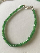 Natural Zambian Emerald Faceted May Birthstone Gems Beads Bracelet Silver Clasp