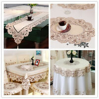 Embroidered Table Runner Dining Table Cloth Cover Mats Wedding Party Decor Satin