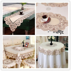 Flowers Embroidered Table Runner Table Cover Polyester Mats Wedding Party Decor