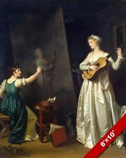YOUNG WOMAN ARTIST PAINTING A WOMAN WITH GUITAR MUSIC ART REAL CANVAS PRINT