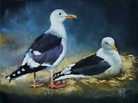 YARY DLUHOS ORIGINAL OIL PAINTING Seagulls Beach Ocean Sea Birds Wildlife Nature