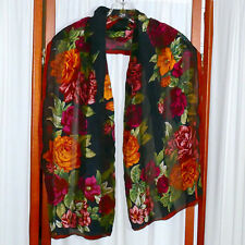 Women's Scarf Vintage Rectangle 100% Pure Silk Floral Black Multi