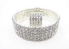 New Sparkling 5 Row Silver Crystal Rhinestone Bracelet & Ring Set #5ROWBCLT-RING