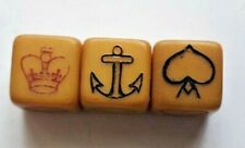 More details for crown & anchor 12mm dice set of 3 butterscotch bakelite 1920s naval dice game