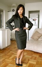 $555 Theory Gratian Blazer Joanie Skirt Lecture Tweed Gray Suit Set 4 Matching