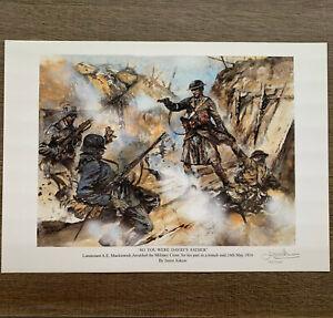 A E Mackintosh War Poet Seaforth Highlanders Military Cross Action SIGNED PRINT
