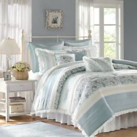 CHIC BLUE LACE 9pc King COMFORTER SET : FRENCH COTTAGE SHABBY PAISLEY BEDDING
