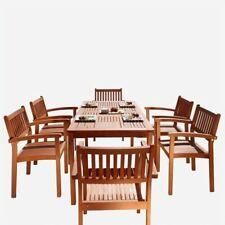 Vifah Malibu 7 Piece Wood Patio Dining Set