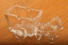 Vintage Glass Horse and Cart Toothpick Holder Candy Dish Figurine Paperweight