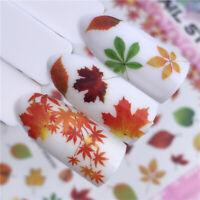 Fashion Autumn Theme 3D Nail Stickers Maple Leaves Nail Art Decals Decor Tips
