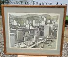 Rare Signed Original Lithograph of Old Central District HONG KONG Harbor, 1981