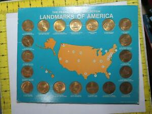 FRANKLIN MINT COLLECTION LANDMARKS OF AMERICA 20 TOKEN COIN BOARD LOT 🌈⭐🌈