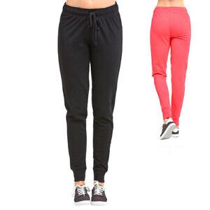 Women Black Jogger Sweatpants Fleece Workout Gym Pants Elastic Waist S - L