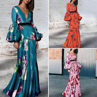 Women Long Sleeve Floral Long Dress Formal Gown Prom Dresses V Neck Shirt Dress