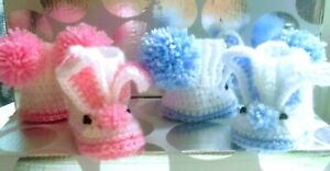 HANDMADE BABY CROCHET SWEET BUNNY SHOES SLIPERS BOOTIES GIRLS BOYS