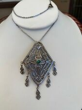 Vintage Silver Necklace Filigree 925 women