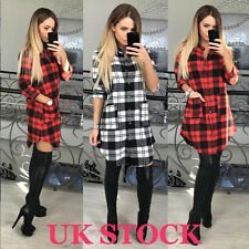 UK Womens Check Shirt Mini Dress Ladies Long Sleeve Plaid Romper Dress Size 6-16