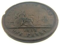 Quebec Bank Token 1852 One Penny Deux Sous Province Du Canada Circulated S345