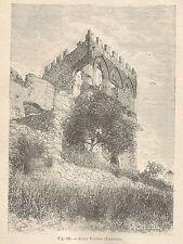 A1230 Taormina - Badia Vecchia - Xilografia - Stampa Antica del 1895 - Engraving