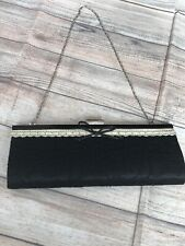 Ladies Dune Black Lace Clutch Bag Purse Also With Silver Chain Strap