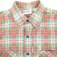 Vtg Paper Thin Wrangler Flannel Work Shirt Mens LARGE Nicely Faded USA Made
