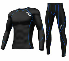 FDX Mens Compression Armour Base layer Top Skin Fit Shirt + Leggings / Pants set