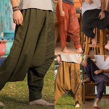 Mens Wide Leg Drop Crotch Trousers Baggy Harem Comfy Pants Loose Hippie Joggers