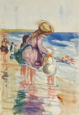 ANTIQUE 1910 FEMALE AMERICAN IMPRESSIONIST BEACH MOTHER DAUGHTER FINE PAINTING