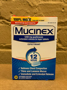 Mucinex 12HR Max Strength Expectorant 1200mg Guaifenesin 28ct, 2/22+ Read Desc.