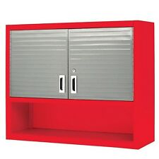 Metal Locking Wall Cabinet Tool Shop Garage Storage Shelf Red Heavy-Duty Steel