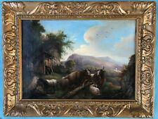 Biedermeier Ölgemälde Weide Landschaft Vieh Rast Kühe Ziegen sig Vyranz dat 1848