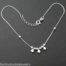 """Star Anklet - 925 Sterling Silver - Summer Star Galaxy Anklet 9"""" + 1"""" Ext 10"""""""