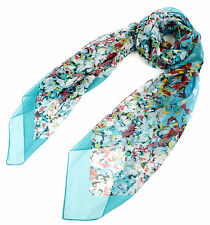"""54""""x54"""" Women's Silk Oversize Large Square Scarf Butterfly Print Turquoise"""