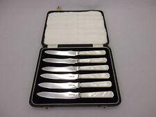 6 Art Deco Perlmutt Messer Sterling Silber 925 England Sheffield ~ 1938