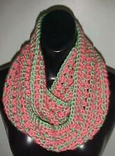 Hand Crochet Loop Infinity Circle Scarf/Neckwarmer #123 Seafoam Green/Coral New