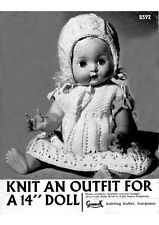 "VINTAGE KNITTING PATTERN  COPY - TO KNIT CLOTHES FOR 14 "" DOLLS- 1940's"